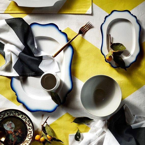 Bright Yellow Chevron Grande Cotton Table Cloth  150cm by AURAhome, $89.00