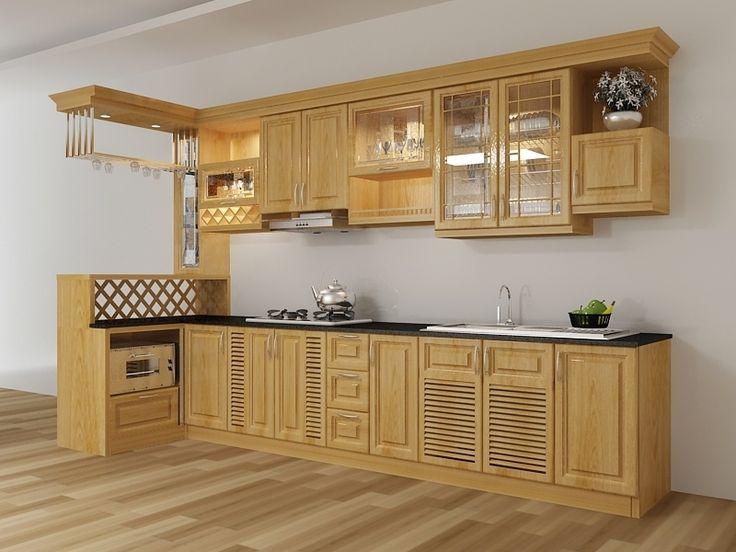 Tủ bếp gỗ xoan đào tây bắc cho phòng bếp thêm sang trọng hiện đại nhất