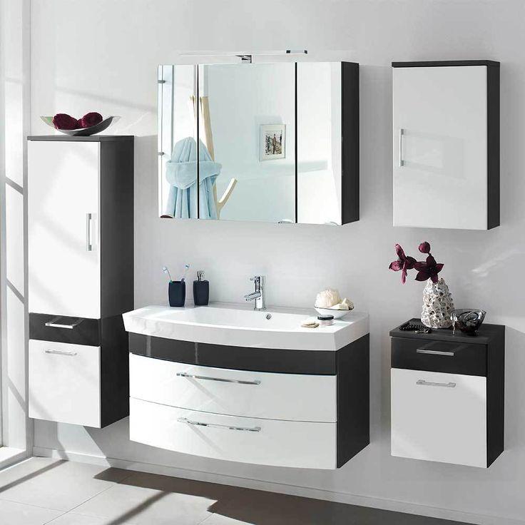Badezimmer Komplettset In Weiß Hochglanz Anthrazit (5 Teilig) Jetzt  Bestellen Unter: Https