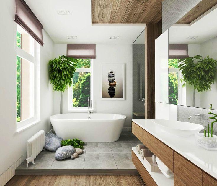 Tropical Bathroom Decor Beige Ceramic Floor Modern Round Bathtub Black Ceramic Tile Floor Stainless Steel Towel Bars Stainless Steel Floor Mount Faucet