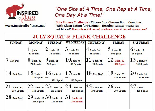 INSPIRED BY FITNESS JULY FITNESS CHALLENGE- squats and plank
