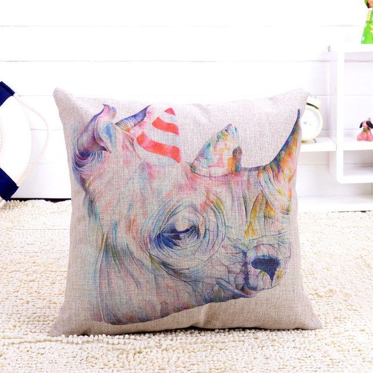 africanartonline.com - Rhino Head Colorful Cushion Cover, $24.95 FREE Shipping (http://africanartonline.com/rhino-head-colorful-cushion-cover/)