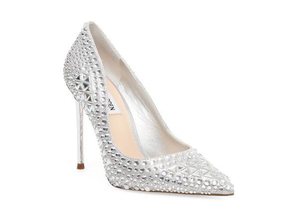 DOMINIK Pointed Jewel Brooch Open Court Shoe silver | Dune London