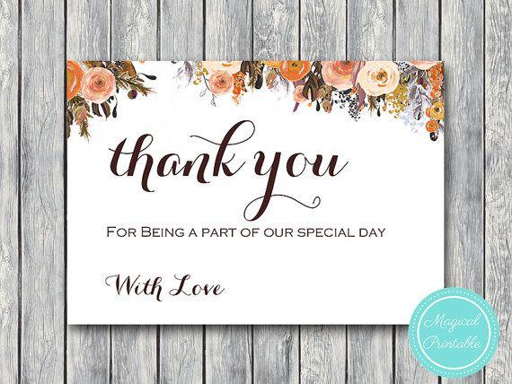 Fall Autumn Wedding Thank you cards Thank you by BrideandBows