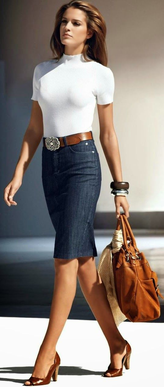 White Top with Jeans Skirt   Chic Street Outfits