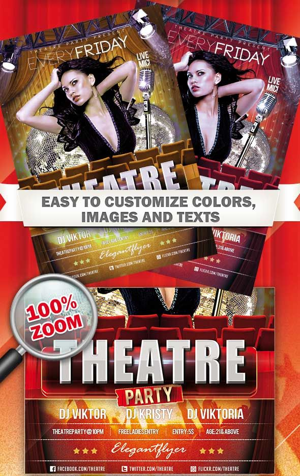free psd theatre party club and party flyer template free flyer
