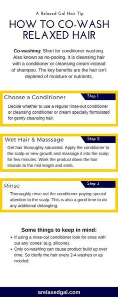 Co-washing can be beneficial for relaxed hair. It's also simple to do. This infographic outlines the three easy steps for co-washing. | http://arelaxedgal.com