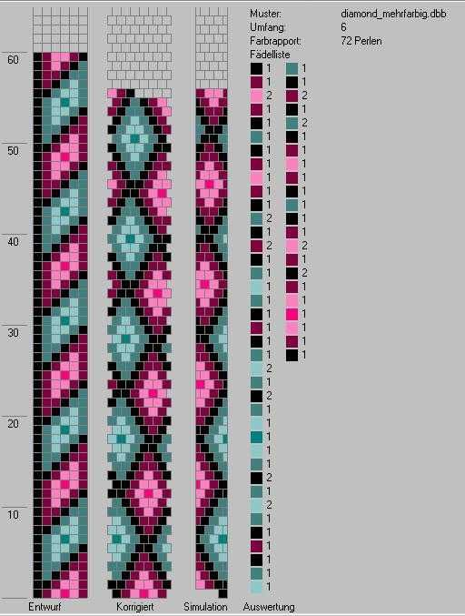 Schlauchketten häkeln - Musterbibliothek: diamond_mehrfarbig