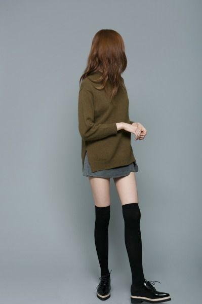 fw green sweater + skirt + otk socks + brogues