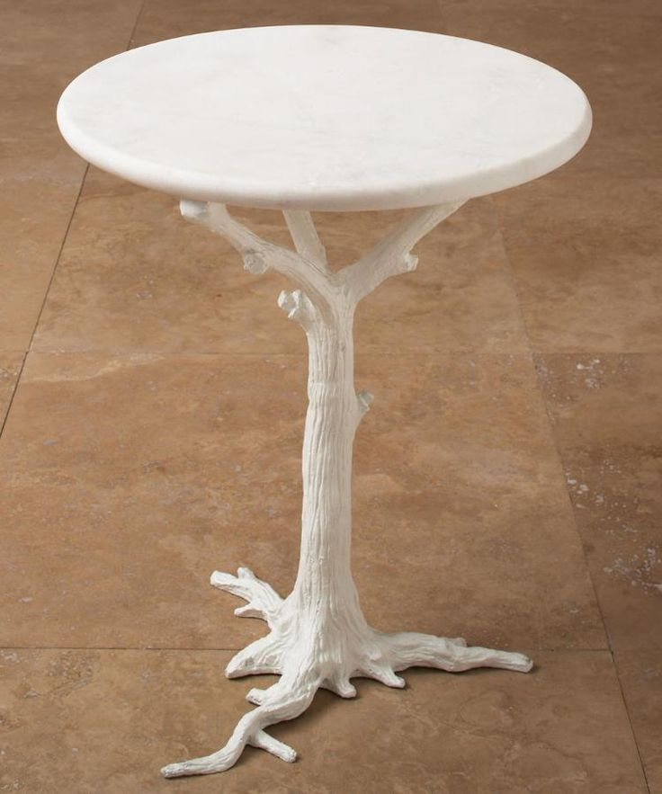 Global Views White Faux Bois Side Table From Chachkies.