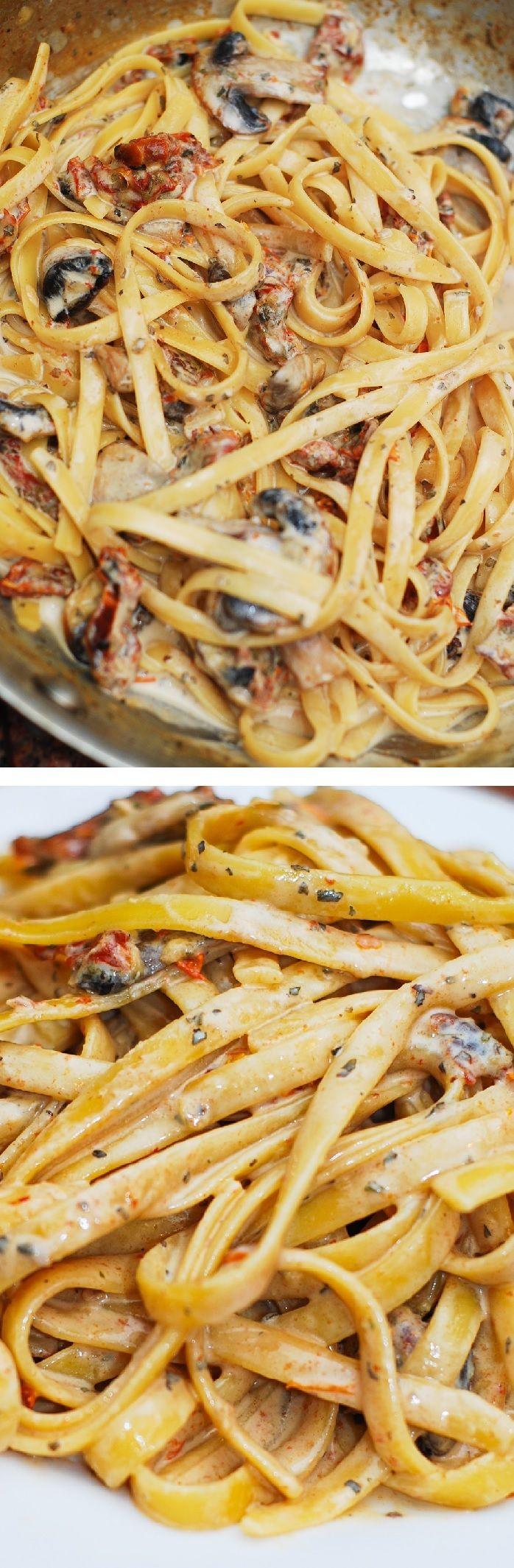 Sun dried tomato and mushroom pasta in a garlic and basil sauce - an Italian comfort food! @juliasalbum