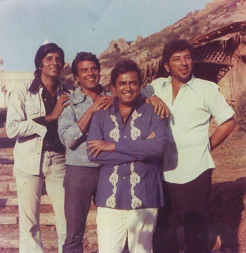 from the set of Sholay - Bollywood spaghetti western....( L-R: Amitabh Bachchan, Dharmendra, Sanjeev Kumar and Amjad Khan)