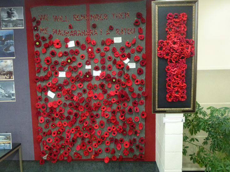 Upper Hutt, NZ - library display of knitted poppies for ANZAC day 25 April 2104