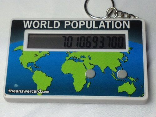 World Population Clock - in real time! (.... $9.99. about the size of a credit card (but thicker). comes pre-programmed!! (can be re-programmed). updates every second. tracks the world population. Makes a great gift! This world population clock comes pre-programmed based on the latest 2012 data. Updates every second! Comes with a pop-out desk stand and keychain accessory (keychain accessory can be removed by user if desired)