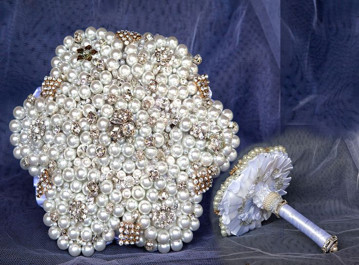Pearl brooch bouquet - fascinating and beautiful with diamante accents.