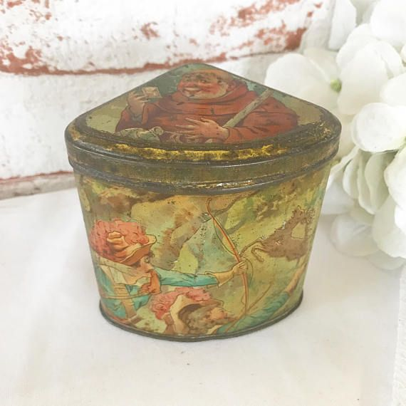 Rare Antique Robin Hood Mustard Tin Litho Box Victorian Decorative Vintage Advertising Moss Rimmington Triangular Can Canister fairy tale by WonderCabinetArts