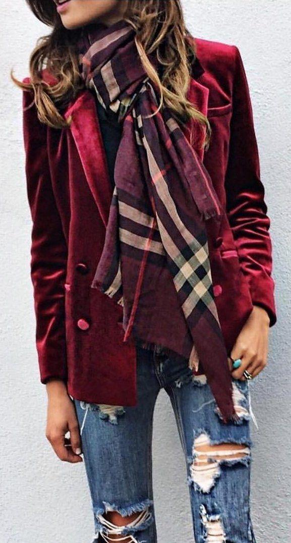 #winter #fashion /  Burgundy Blazer + Destroyed Jeans