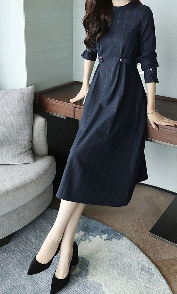 Navy plaid mid length fit and flare modest dress with adjustable waist and sleeves