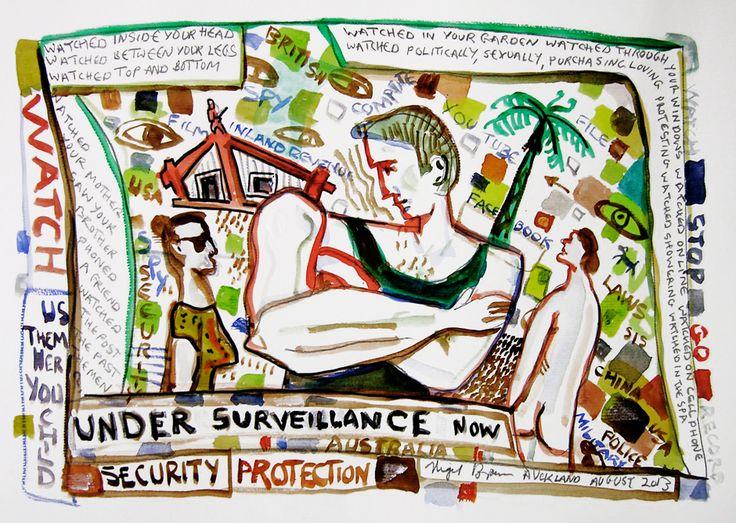 Under Surveillance (2013) water colour & pencil on paper, 297 x 420mm