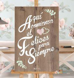 """Cartel de Madera""""Aqui comienza el felices para siempre"""". Cartel para bodas. Wood…"""