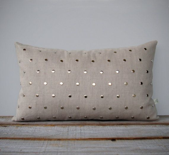 Studded Pillow Cover in Natural Linen 12x20 | Polka Dot Pattern | by JillianReneDecor | Geometric Pillow | Home Decor | Silver Studs