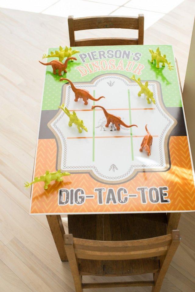 Dinosaur printable game uses toy dinosaurs as game pieces.