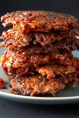 Golden Nuggets: Beet, Carrot and Potato Latkes by Chef Eric Greenspan.