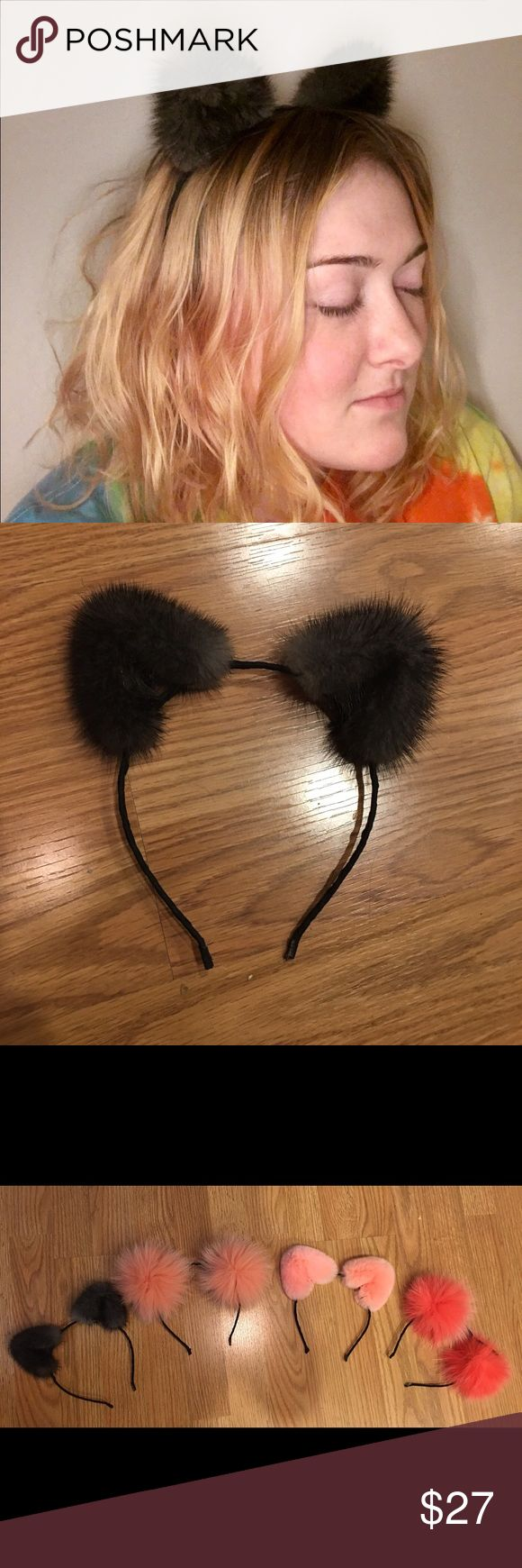 Mink cat ears! Fun, spunky, Ariana Grande style Fun, spunky Ariana Grande style fur cat ears. Real mink fur. Adorable grey fur wrapped and affixed around black cat ear headband frame. Perfect for parties, costumes, or everyday flair! Custom made, brand new with tags, never been worn. Check other listings for different color combos and fur styles! Accessories Hair Accessories