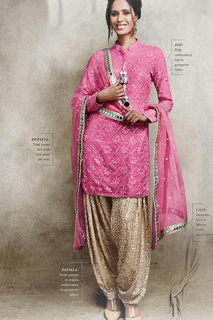 Pink & Beige Georgette Semi Stitched Pakistani Suit