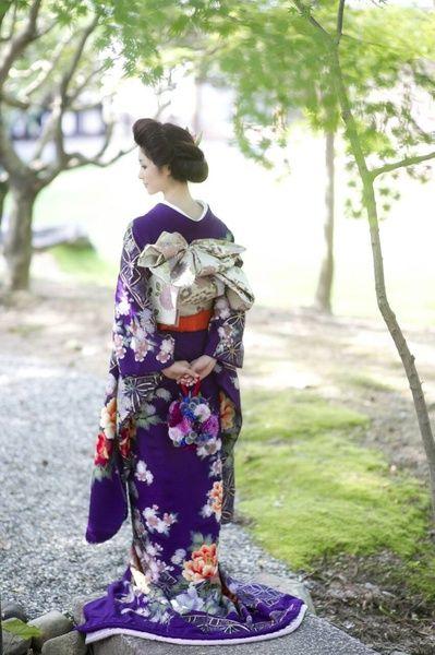CUCURU 古代紫手刺繍七宝に牡丹 着物ウェディング 和婚 引き振り袖