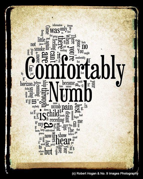Comfortably Numb - Pink Floyd Word Art - 8x10 Word Cloud Art Print - Gift Idea