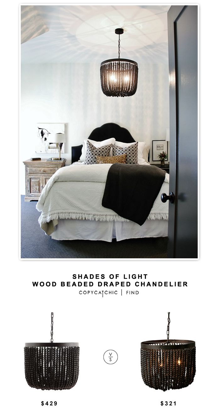 Shades of Light Wood Beaded Draped Chandelier | Copy Cat Chic