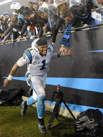 Carolina Panthers quarterback Cam Newton celebrates