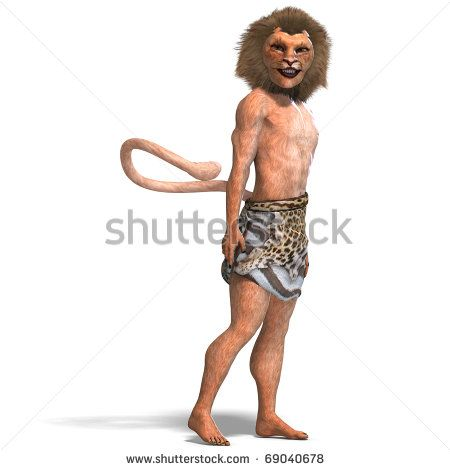 male manticore fantasy creature. 3D rendering with clipping path and shadow over white - stock photo