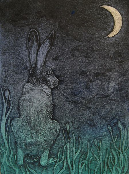 """""""The Glance Aside"""" by Hester Cox (collagraph)"""