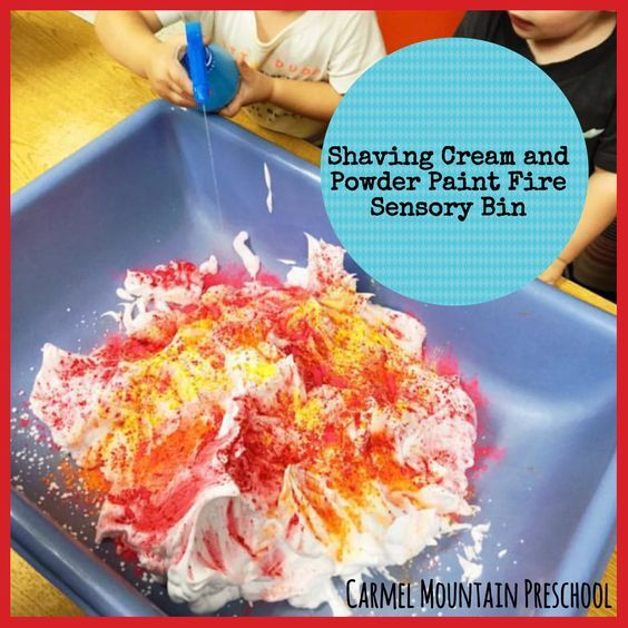 A great sensory activity for fire safety. Use shaving cream and powder paint to create a fire. Then have kids use a squirt bottle with water to put the fire out!