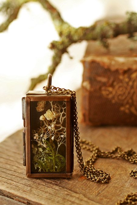 The secret garden , mini terrarium necklace , living locket , shadow box , Irish jewellery , real plant pendant , flowers , moss terrarium