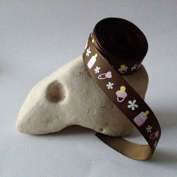 """5 Yards of 5/8"""" Grosgrain Ribbon, Brown with Pink Baby Bottle Pattern $4.75"""