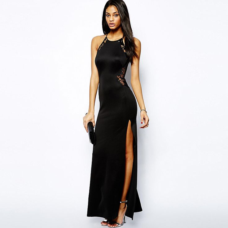 Lace Sleeveless Backless Side Slit Strappy Maxi Sheath Dress Black