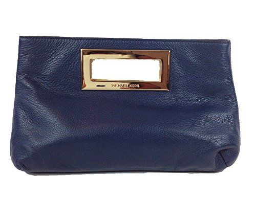Michael By Michael Kors Berkley Leather Large Clutch, Navy Michael Kors