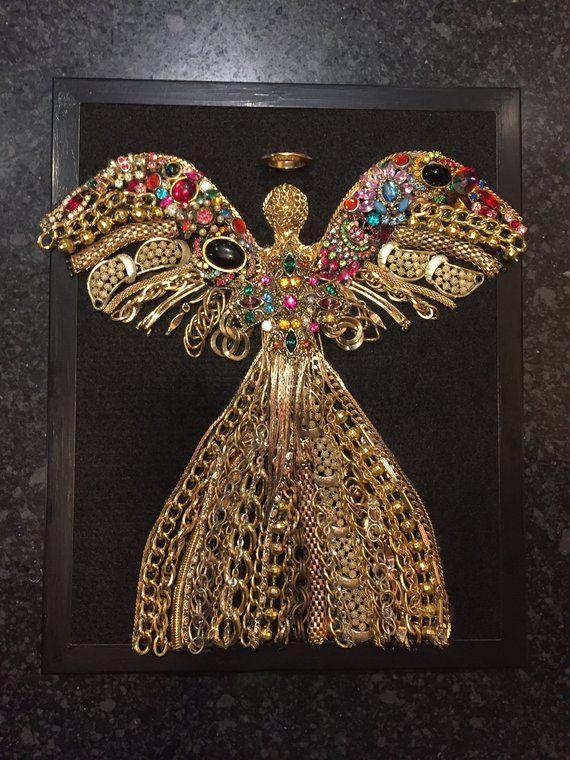 Vintage Jewelry Art Framed Vintage Jewelry Art Pictures Framed Jewelry Art Wall Decor Jewelry Christmas Tree Framed Jewelry Art Angel Framed Vintage Jewelry Art Vintage Jewelry Repurposed Jewelry Art