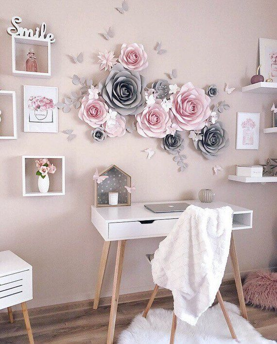 Nursery Paper Flowers Wall Decoration Paper Flower Decor Etsy Paper Flower Wall Decor Paper Flower Decor Teenage Girl Room Decor