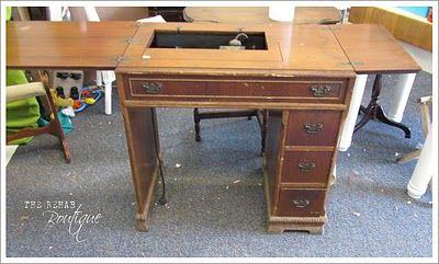Repurposing old sewing table to vanity