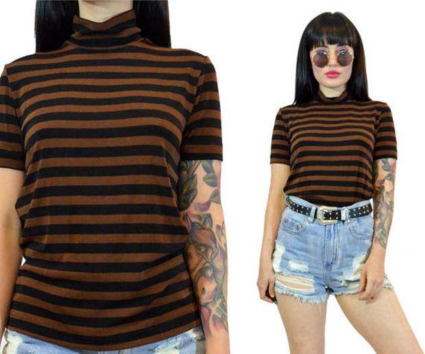vintage 90s slinky turtleneck shirt 1990s grunge striped MOCK neck tshirt brown + black soft grunge minimalist top blouse classic small