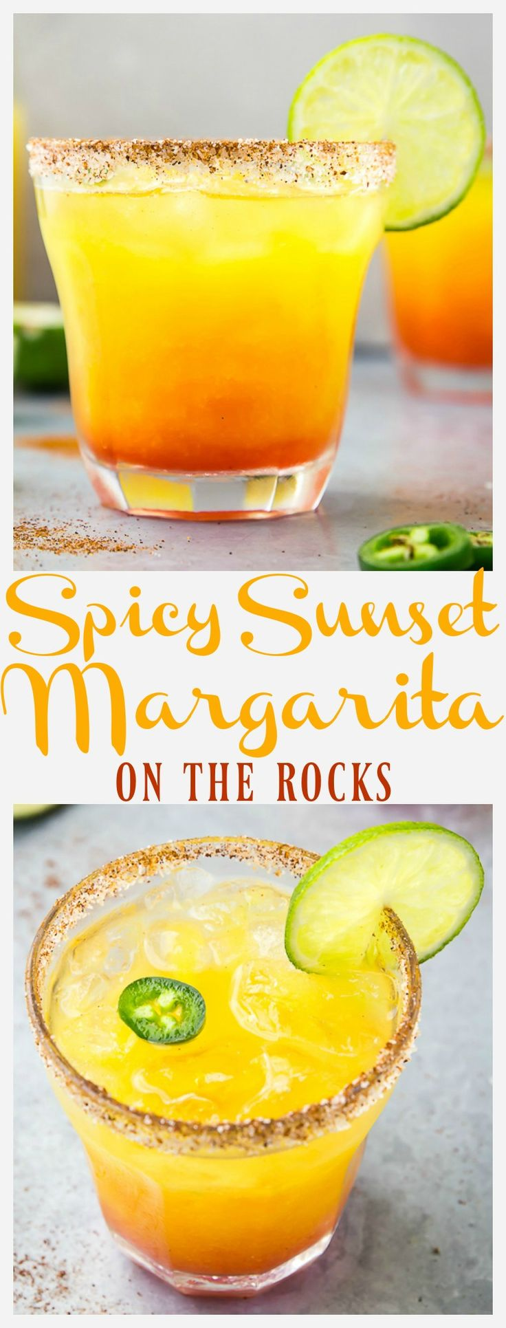 Spicy Sunset Margarita On The Rocks | This  is a fruity, fiery twist on the classic Mexican cocktail. Flavored with mango, pineapple, jalapeno and grenadine, this tropical tequila libation is sure to