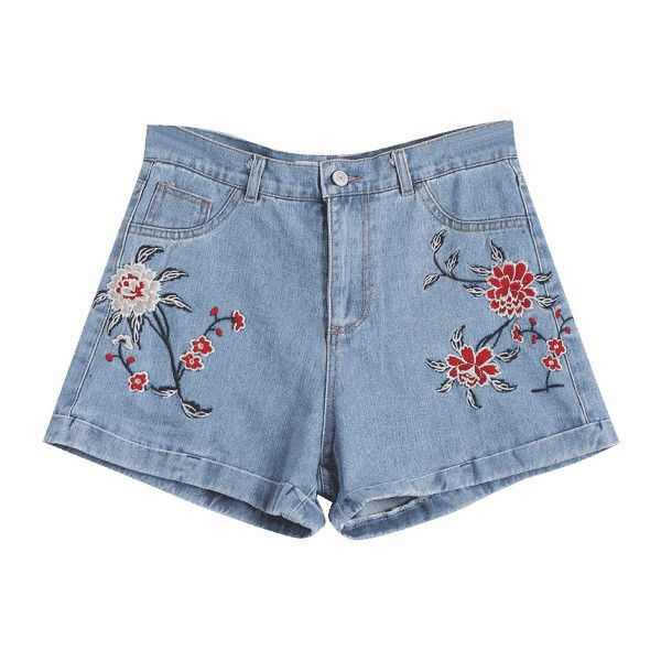 Floral Embroidered High Waisted Jean Shorts (£15) ❤ liked on Polyvore featuring shorts, high rise denim shorts, high-waisted jean shorts, high rise shorts, short jean shorts and highwaist shorts