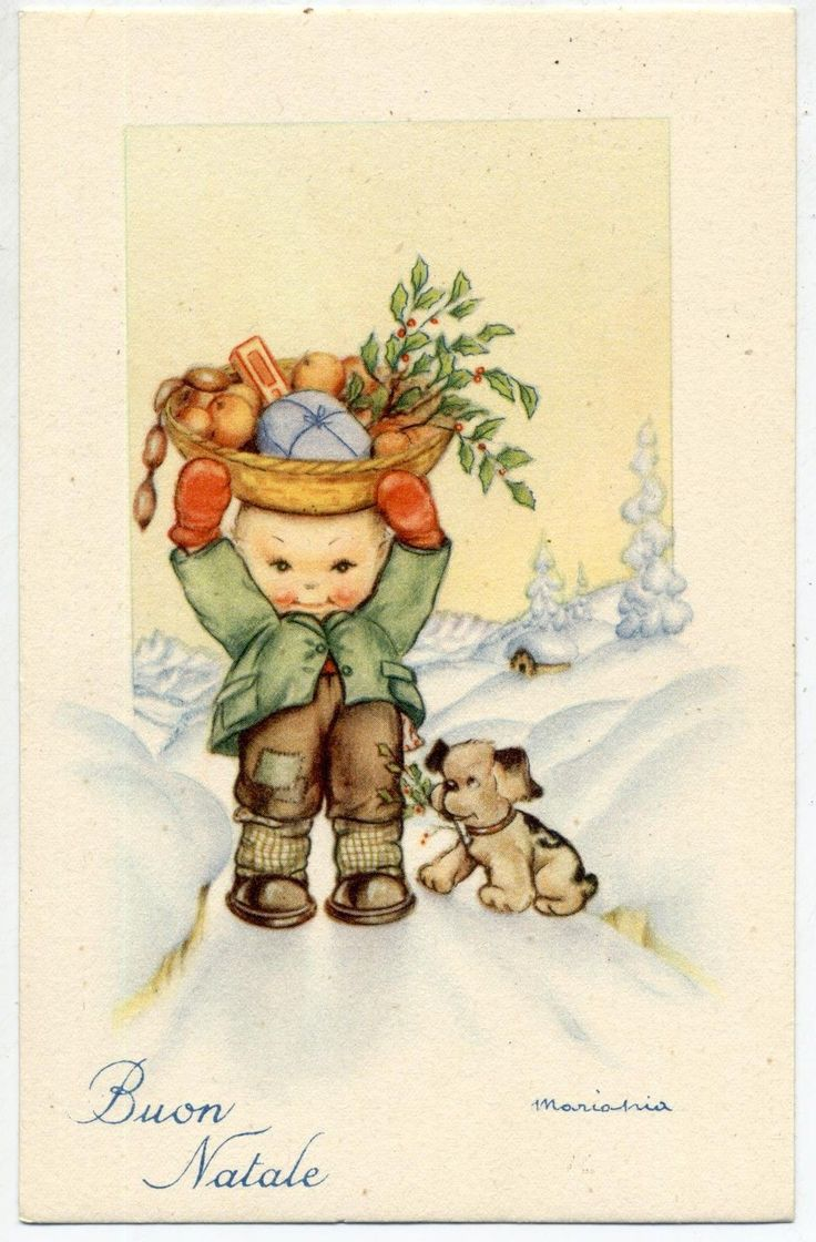 MARIAPIA Buon Natale Bambino Neve Cesta di Doni Cagnolino PC circa 1940 ITALY | eBay