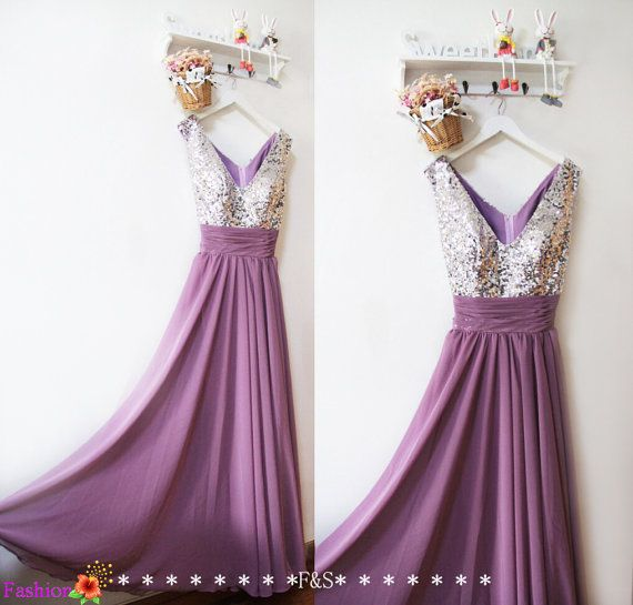 Silver Sequin Bridesmaid Dress, Long Chiffon Bridesmaid Dress,