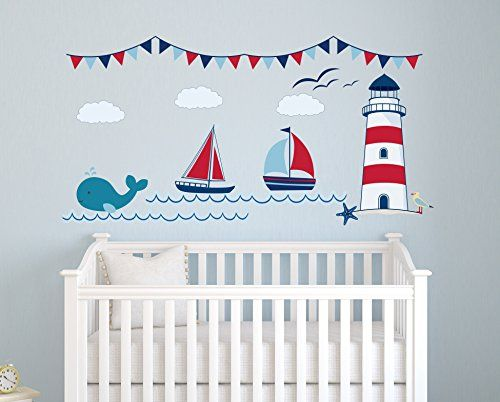 Nautical Theme Fabric Wall Decal - Nautical Decor - Nursery Wall Decal - Whale and Sailboat - Baby Nursery Decor (50Wx25H) Lovely Decals World LLC http://www.amazon.com/dp/B00VAO97TA/ref=cm_sw_r_pi_dp_Dm1hvb0G031PW