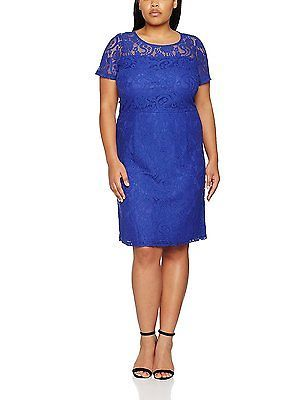 28, Blue (Cobalt), Dorothy Perkins Curve Women's Lace Pencil Dress NEW